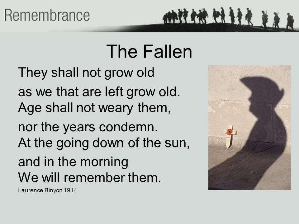 The Fallen They shall not grow old as we that are left grow old.