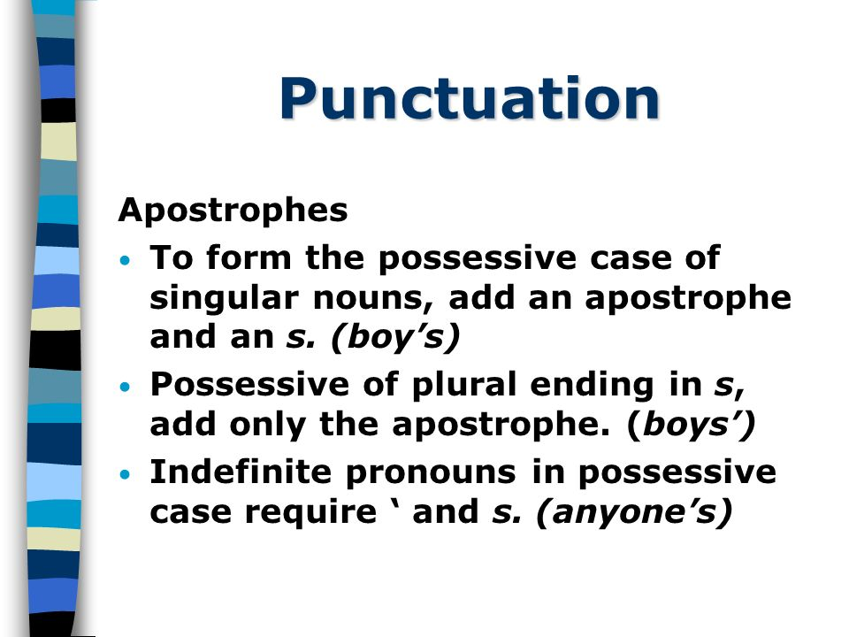 Punctuation Apostrophes To form the possessive case of singular nouns, add an apostrophe and an s.
