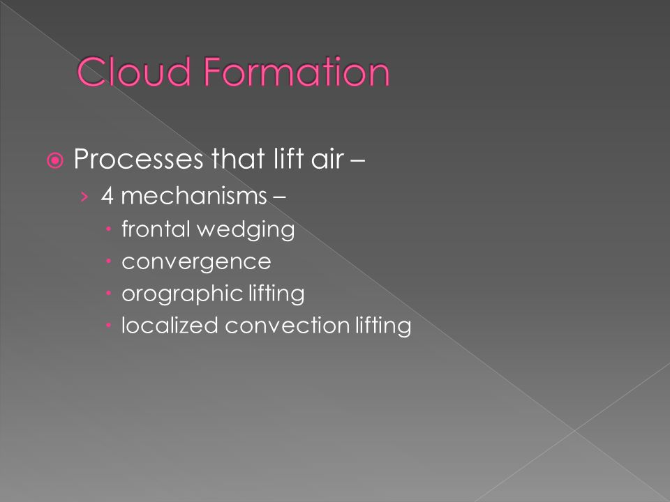  Processes that lift air – › 4 mechanisms –  frontal wedging  convergence  orographic lifting  localized convection lifting