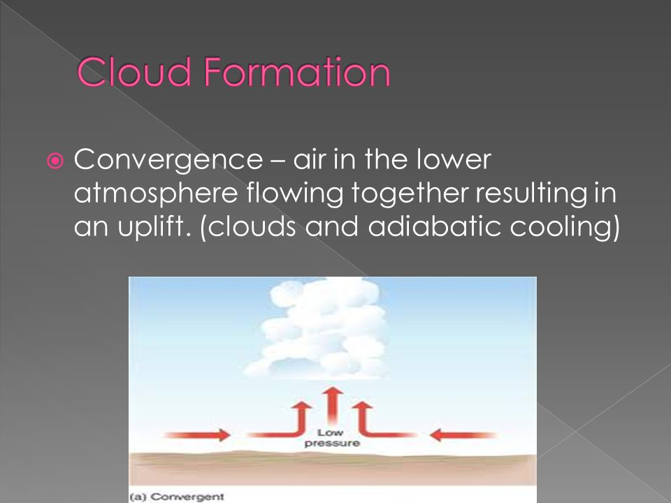  Convergence – air in the lower atmosphere flowing together resulting in an uplift.