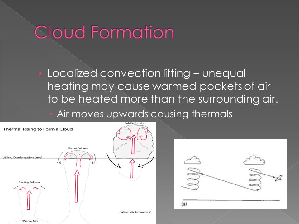 › Localized convection lifting – unequal heating may cause warmed pockets of air to be heated more than the surrounding air.