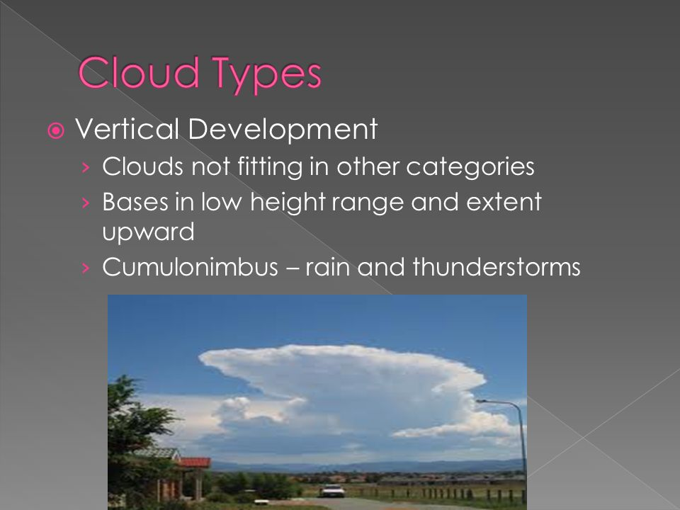  Vertical Development › Clouds not fitting in other categories › Bases in low height range and extent upward › Cumulonimbus – rain and thunderstorms