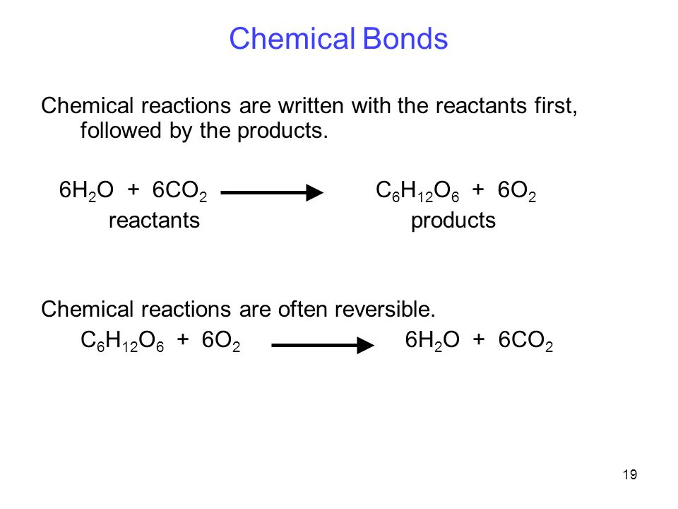 19 Chemical Bonds Chemical reactions are written with the reactants first, followed by the products.