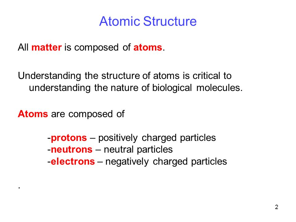 2 Atomic Structure All matter is composed of atoms.