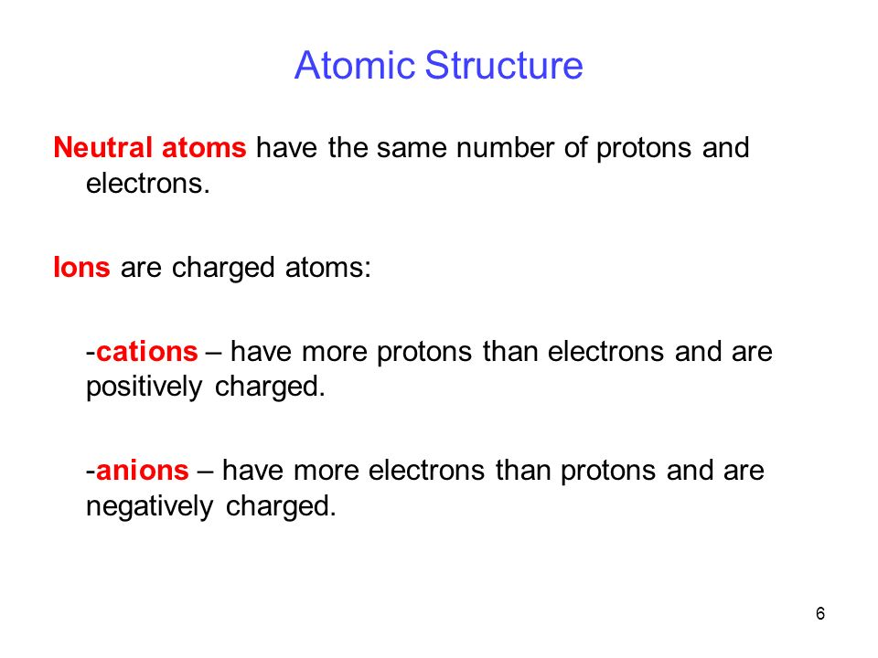 6 Atomic Structure Neutral atoms have the same number of protons and electrons.