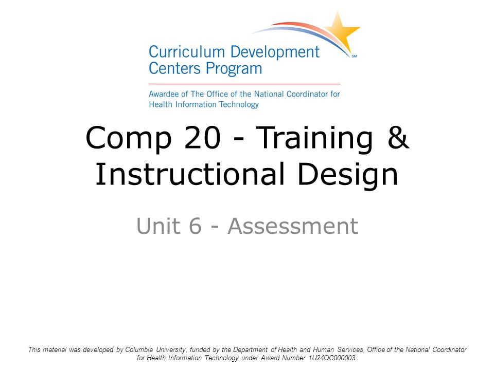 comp 20 training instructional design unit 6 assessment this rh slideplayer com