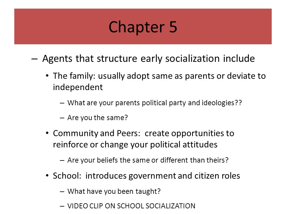 agents of political socialization include