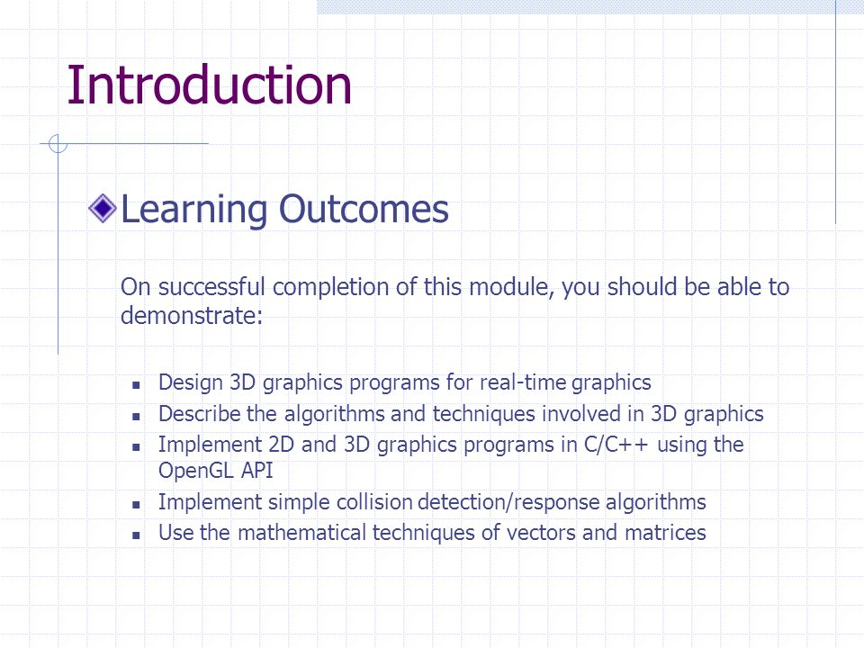 Real-Time Computer Graphics  Introduction Aims The aim of the module