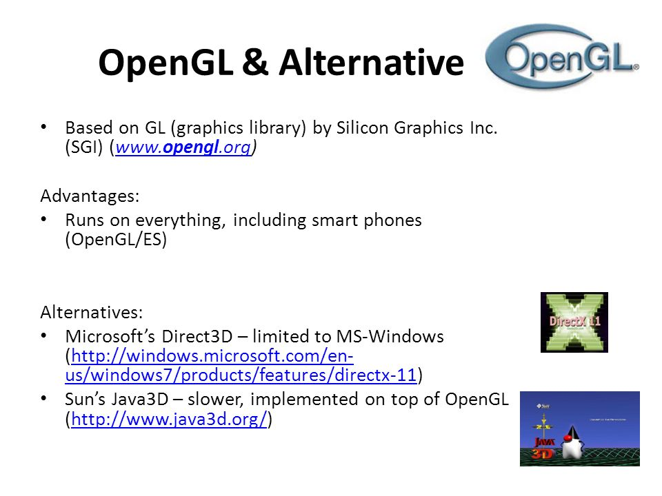 OpenGL & Alternative Based on GL (graphics library) by Silicon Graphics Inc.