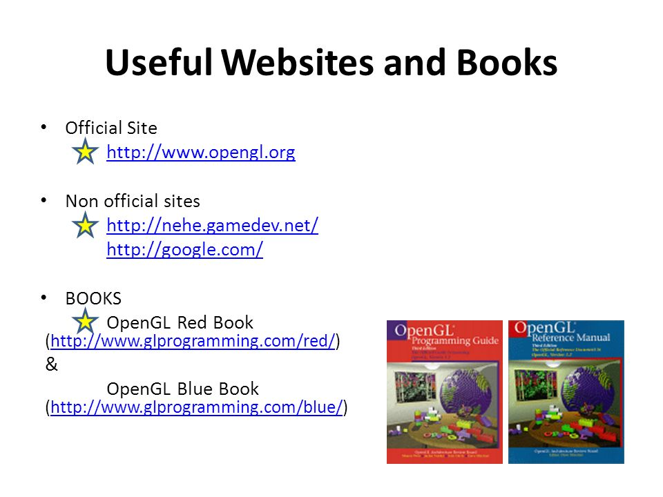 Useful Websites and Books Official Site   Non official sites     BOOKS OpenGL Red Book (  & OpenGL Blue Book (
