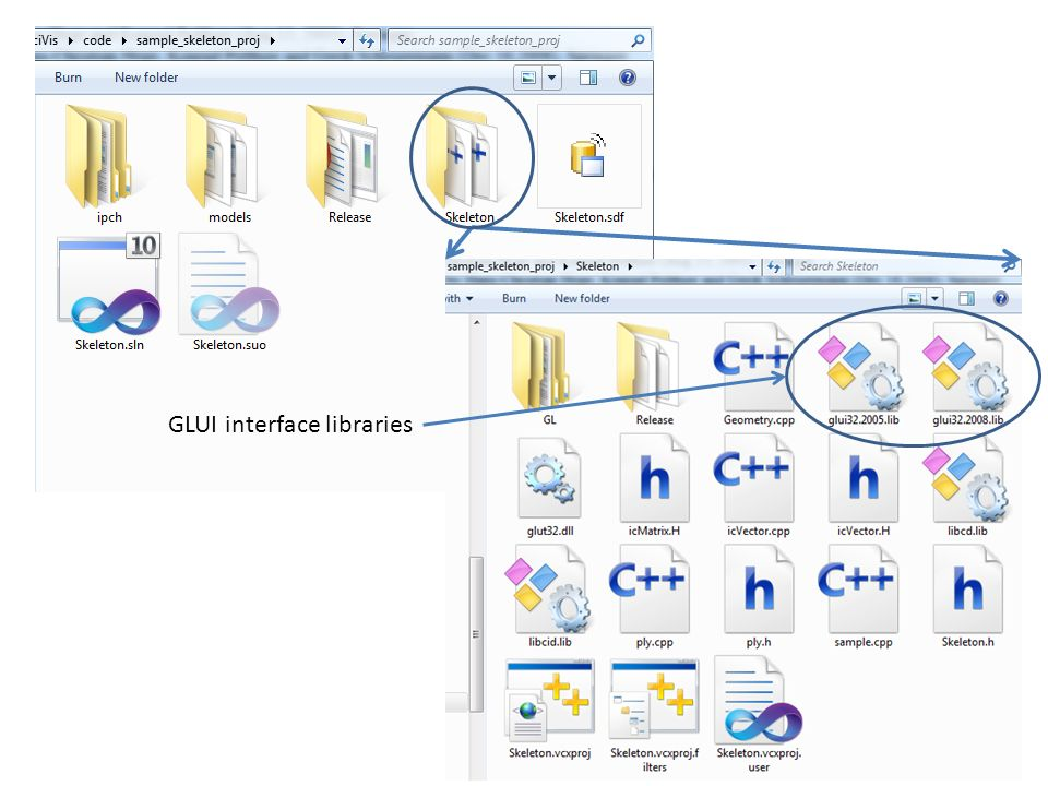 GLUI interface libraries