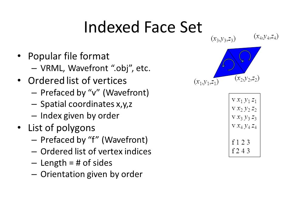 Indexed Face Set Popular file format – VRML, Wavefront .obj , etc.