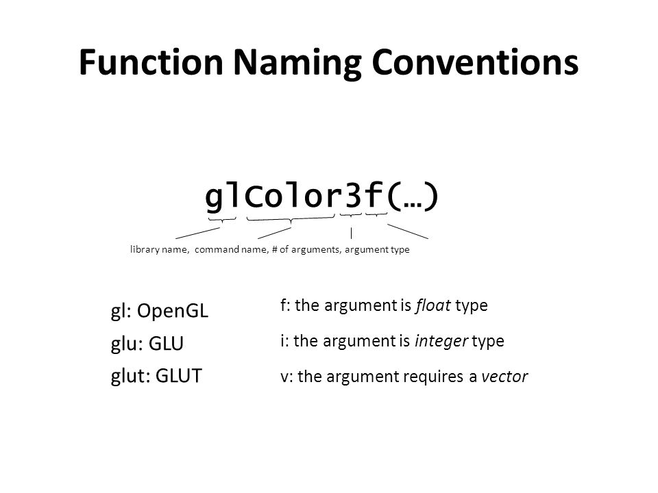 Function Naming Conventions glColor3f(…) library name, command name, # of arguments, argument type gl: OpenGL glu: GLU glut: GLUT f: the argument is float type i: the argument is integer type v: the argument requires a vector