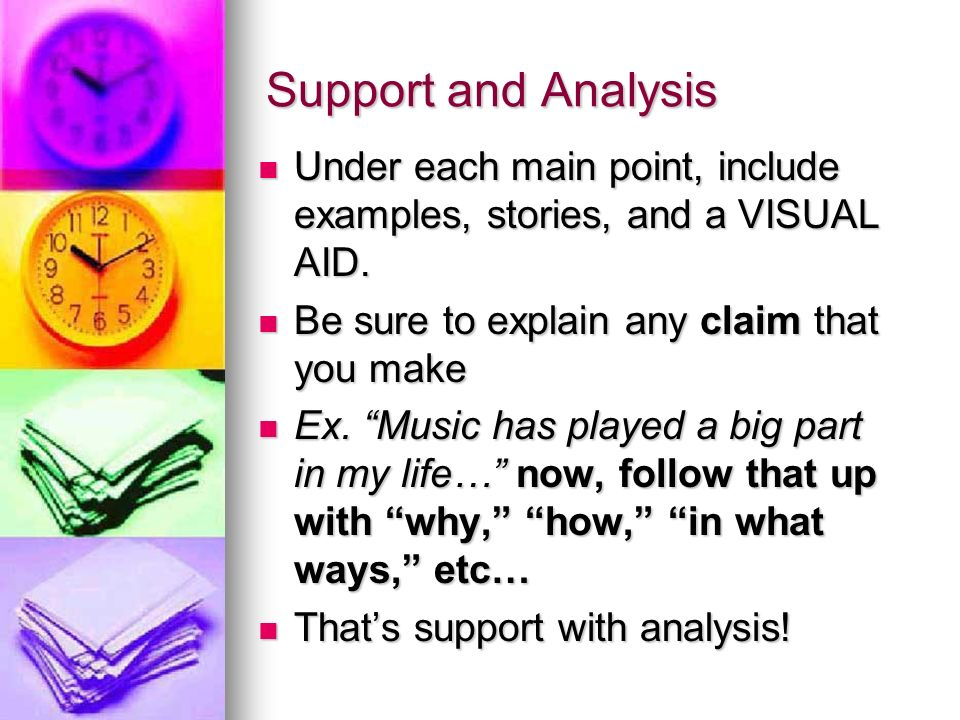 Support and Analysis Under each main point, include examples, stories, and a VISUAL AID.