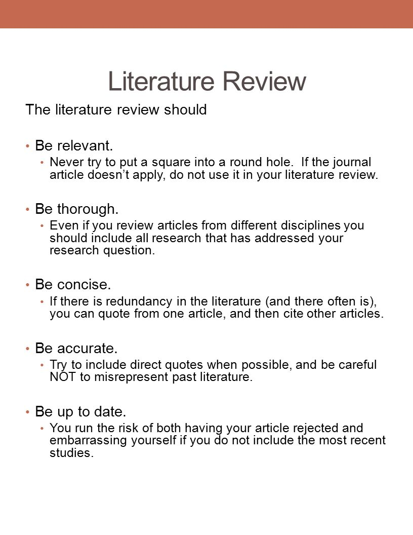 what a literature review should contain