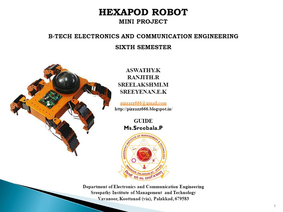 HEXAPOD ROBOT MINI PROJECT B-TECH ELECTRONICS AND