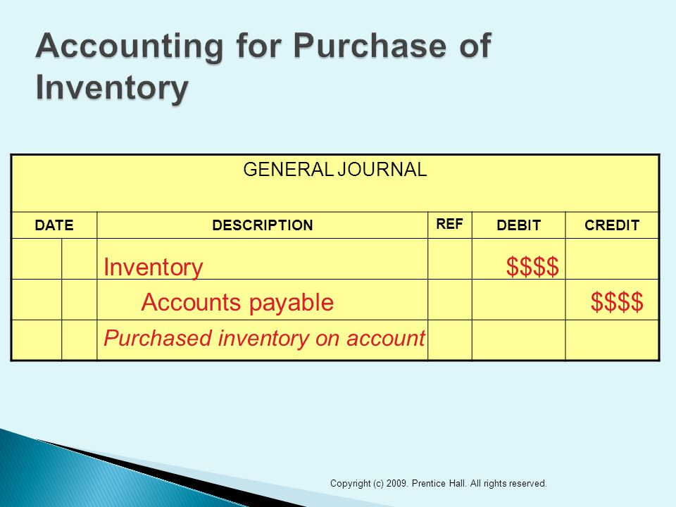 GENERAL JOURNAL DATEDESCRIPTION REF DEBITCREDIT 24 Inventory$$$$ Accounts payable$$$$ Purchased inventory on account Copyright (c) 2009.