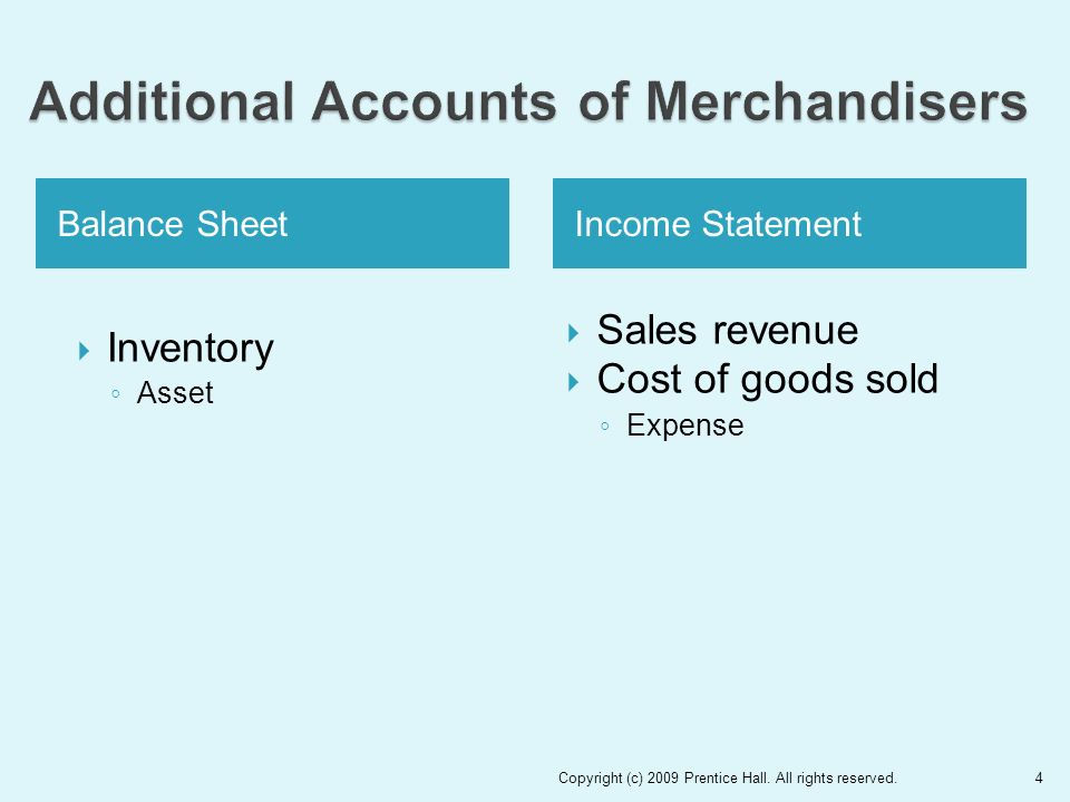 Balance SheetIncome Statement  Inventory ◦ Asset  Sales revenue  Cost of goods sold ◦ Expense Copyright (c) 2009 Prentice Hall.