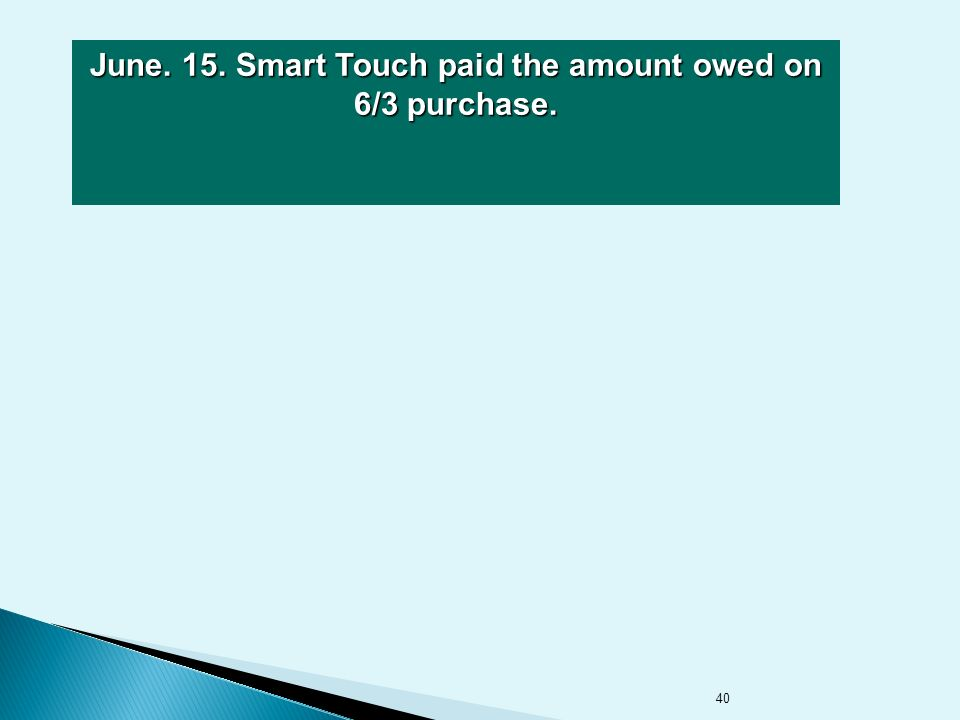 40 June. 15. Smart Touch paid the amount owed on 6/3 purchase.