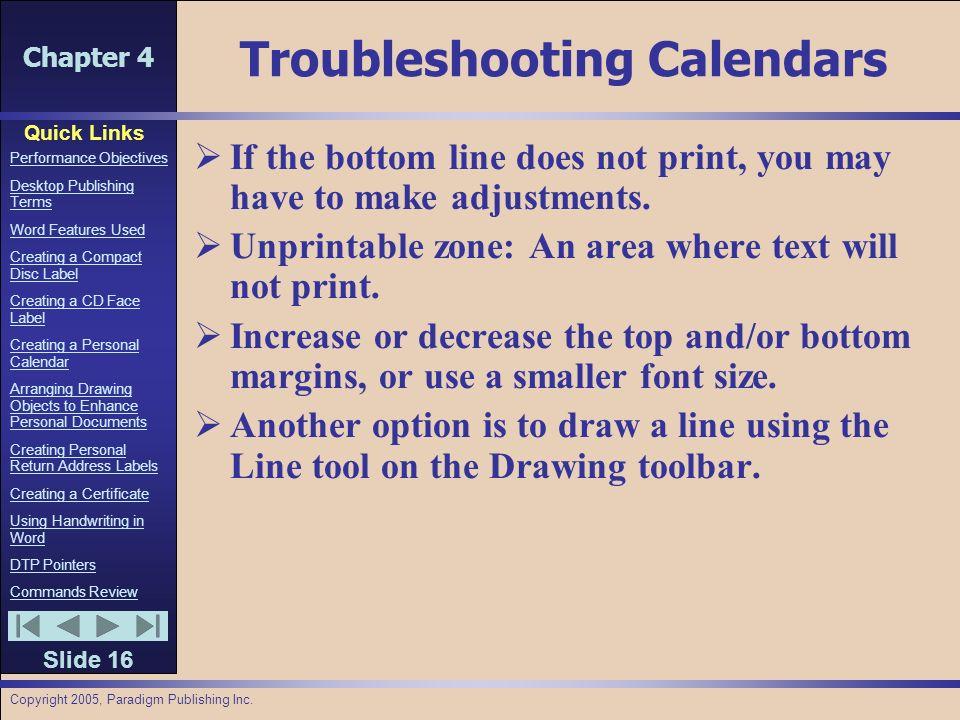 Chapter 4 Quick Links Slide 1 Performance Objectives Desktop