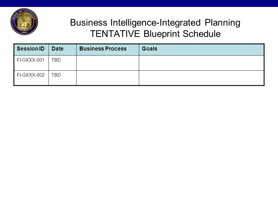 Invitations will be sent out for each blueprint session with the 8 business intelligence integrated planning tentative blueprint schedule session iddatebusiness processgoals fi gxxx 001tbd fi gxxx 002tbd malvernweather Choice Image