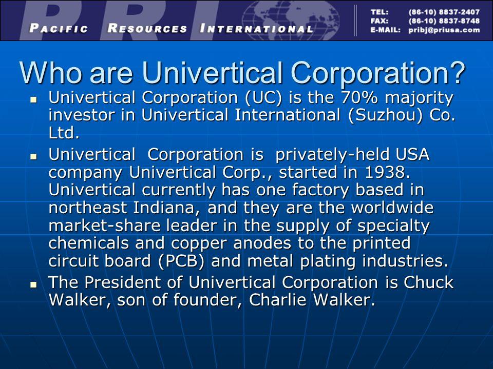Seeking Investment in: Univertical International (Suzhou) Co  Ltd