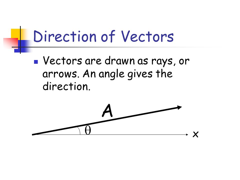 Direction of Vectors Vectors are drawn as rays, or arrows. An angle gives the direction. A x 