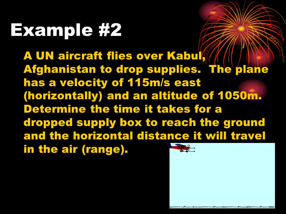 Example #2 A UN aircraft flies over Kabul, Afghanistan to drop supplies.