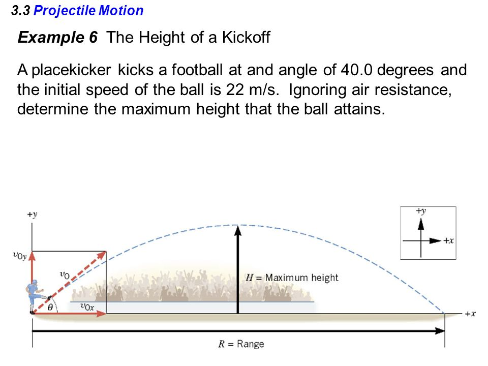 3.3 Projectile Motion Example 6 The Height of a Kickoff A placekicker kicks a football at and angle of 40.0 degrees and the initial speed of the ball is 22 m/s.