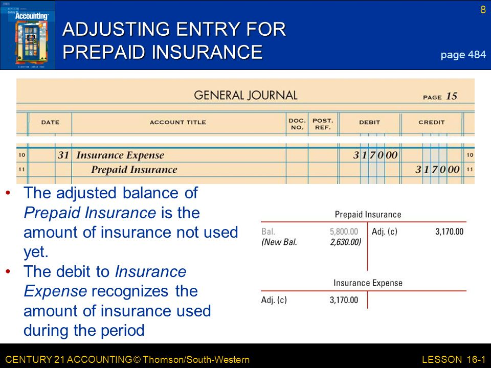 CENTURY 21 ACCOUNTING © Thomson/South-Western 8 LESSON 16-1 ADJUSTING ENTRY FOR PREPAID INSURANCE page 484 The adjusted balance of Prepaid Insurance is the amount of insurance not used yet.