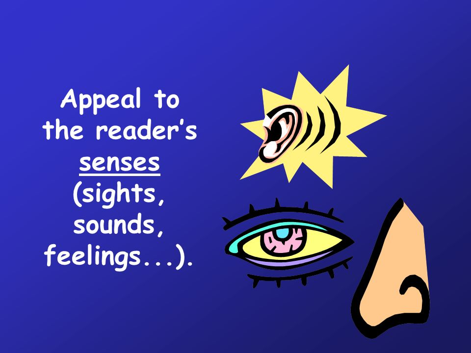 Appeal to the reader's senses (sights, sounds, feelings...).
