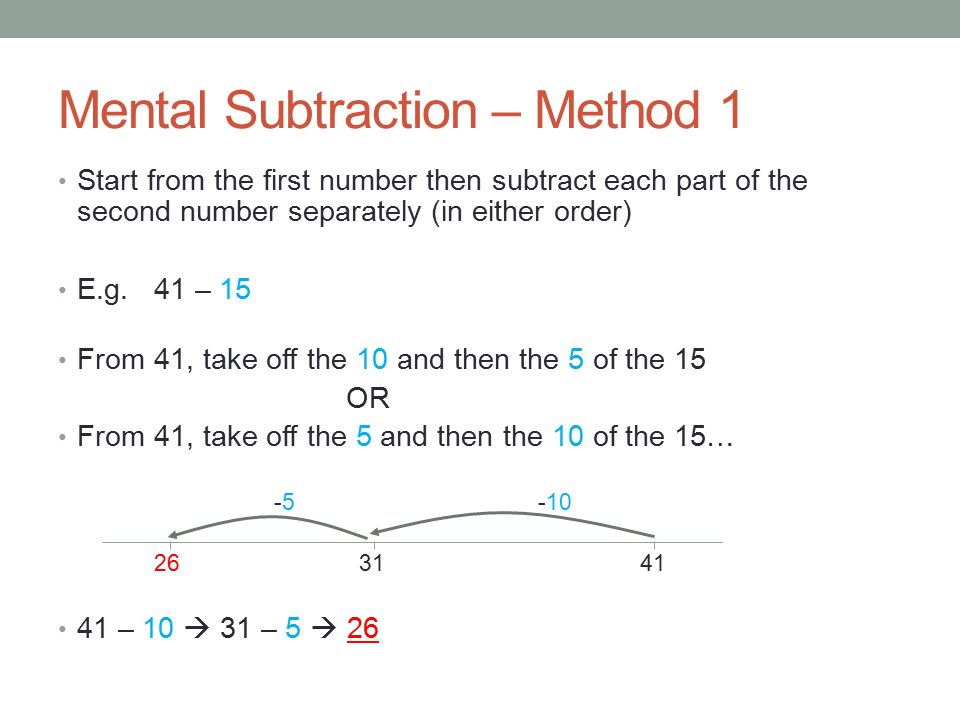 MATHEMATICS Mental Subtraction. The aim of this powerpoint is to ...
