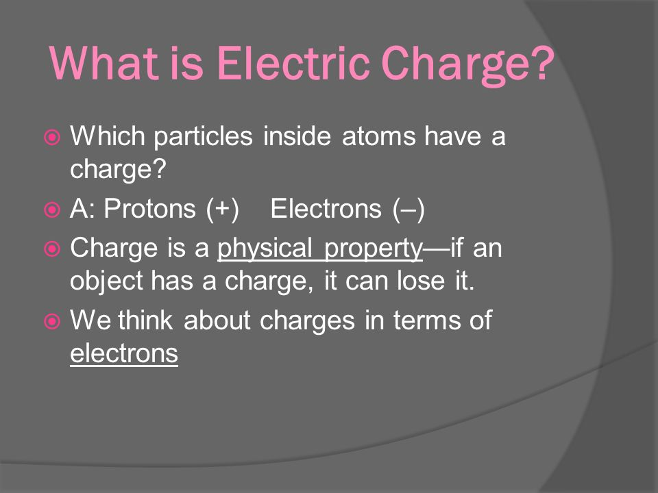 What is Electric Charge.  Which particles inside atoms have a charge.