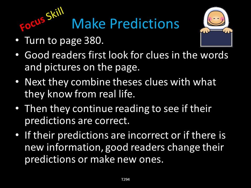 Make Predictions Turn to page 380.