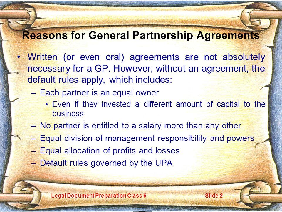 Legal Document Preparation Class Slide General Partnerships The - Legal document preparation business