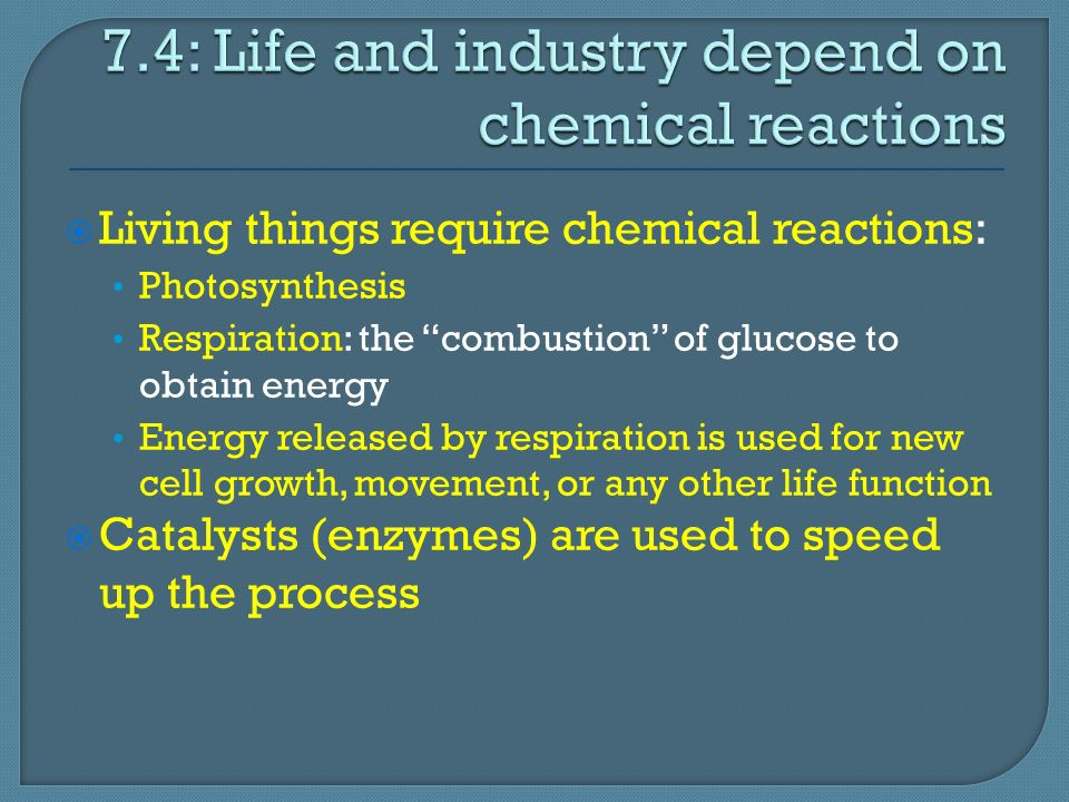  Living things require chemical reactions: Photosynthesis Respiration: the combustion of glucose to obtain energy Energy released by respiration is used for new cell growth, movement, or any other life function  Catalysts (enzymes) are used to speed up the process