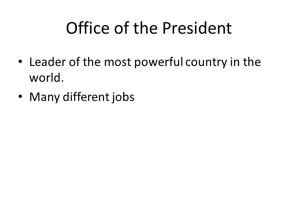 Office of the President Leader of the most powerful country in the world. Many different jobs