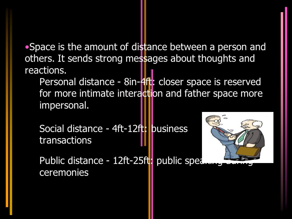 Space is the amount of distance between a person and others.