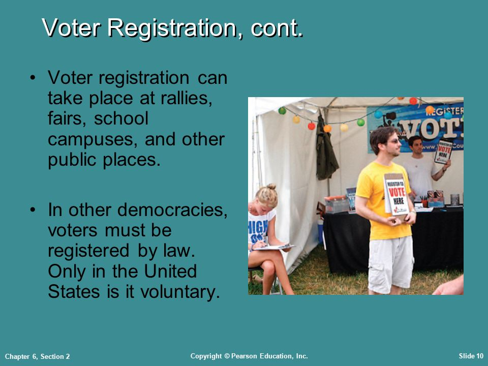 Copyright © Pearson Education, Inc.Slide 10 Chapter 6, Section 2 Voter Registration, cont.
