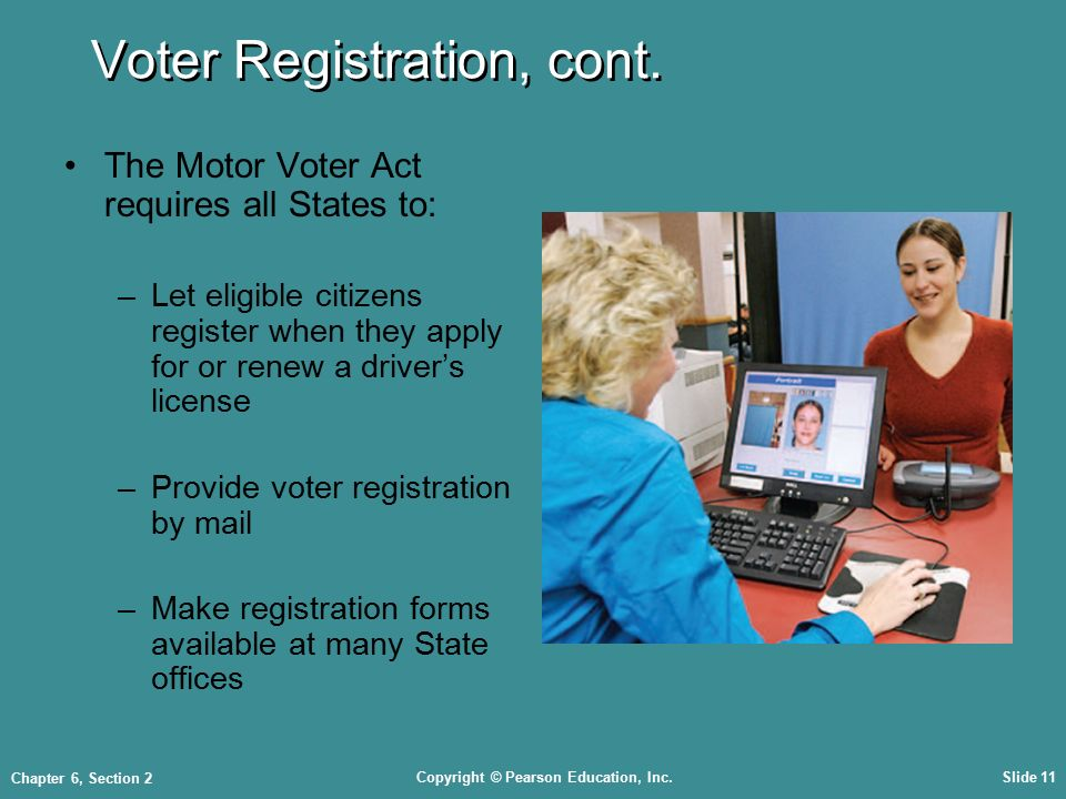Copyright © Pearson Education, Inc.Slide 11 Chapter 6, Section 2 Voter Registration, cont.