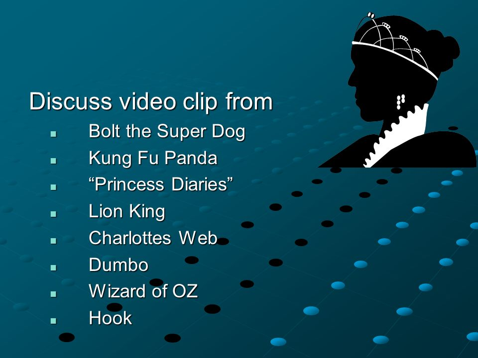 Discuss video clip from Bolt the Super Dog Bolt the Super Dog Kung Fu Panda Kung Fu Panda Princess Diaries Princess Diaries Lion King Lion King Charlottes Web Charlottes Web Dumbo Dumbo Wizard of OZ Wizard of OZ Hook Hook