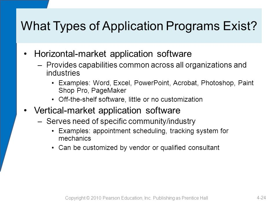 7 application software categories.