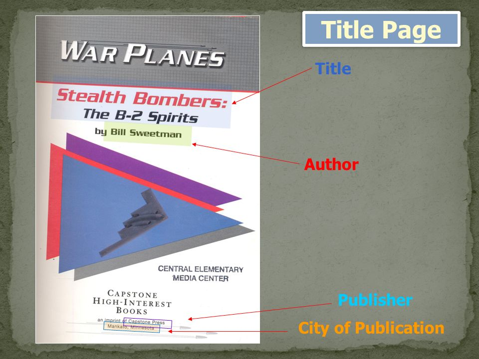 Title Author City of Publication Publisher Title Page