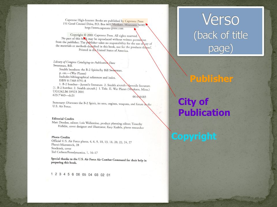 Publisher City of Publication Copyright