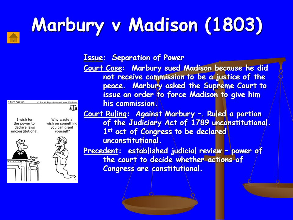 a review of the infamous marbury versus madison case Marbury v madison essay examples  an analysis of the impact of judicial review on the supreme court and the system of government  a review of the infamous.