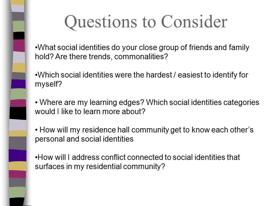 Questions to Consider What social identities do your close group of friends and family hold.