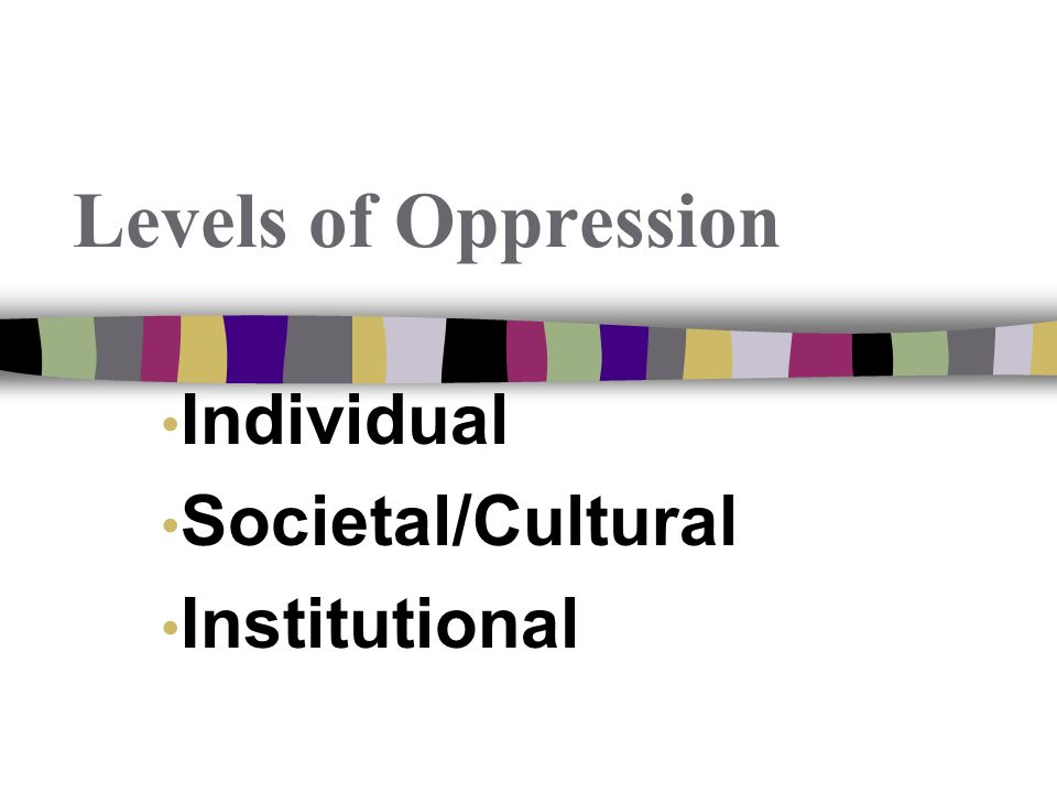 Individual Societal/Cultural Institutional Levels of Oppression
