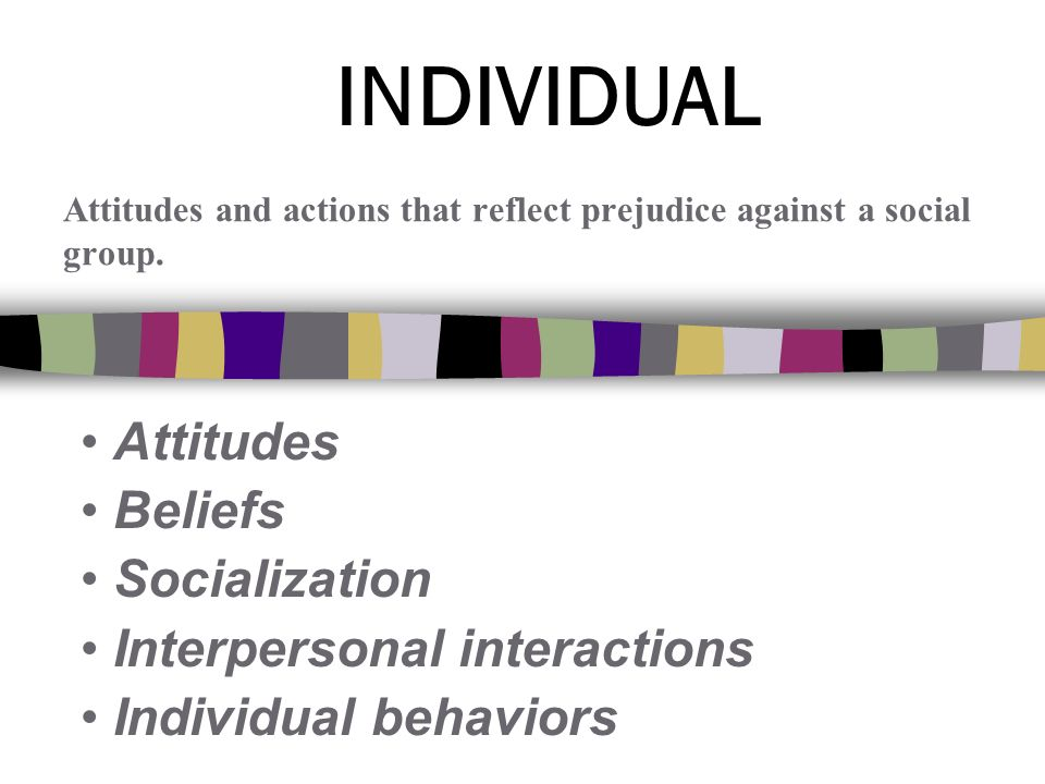 Attitudes Beliefs Socialization Interpersonal interactions Individual behaviors Attitudes and actions that reflect prejudice against a social group.