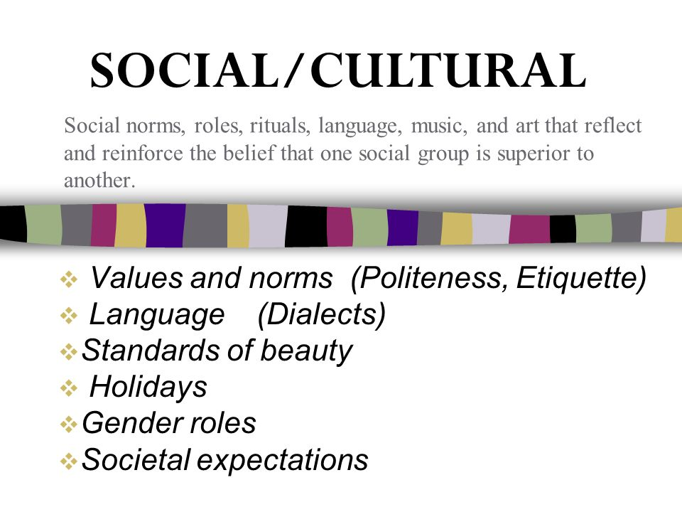  Values and norms (Politeness, Etiquette)  Language (Dialects)  Standards of beauty  Holidays  Gender roles  Societal expectations Social norms, roles, rituals, language, music, and art that reflect and reinforce the belief that one social group is superior to another.