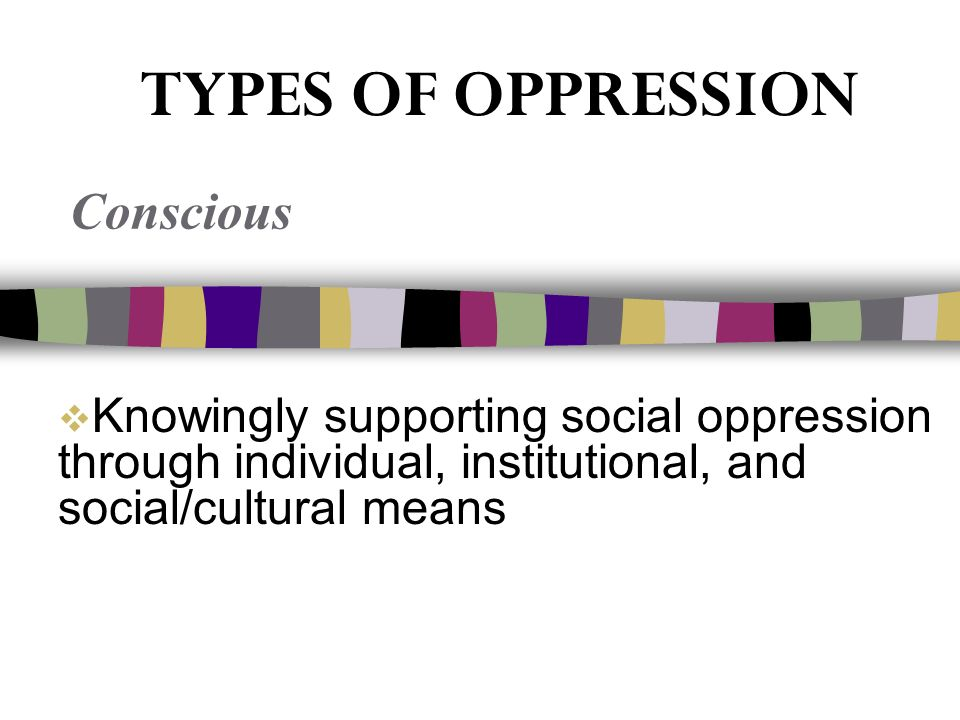  Knowingly supporting social oppression through individual, institutional, and social/cultural means Conscious TYPES OF OPPRESSION